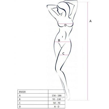 Passion Woman Bs020 Bodystocking Blanco Talla Unica