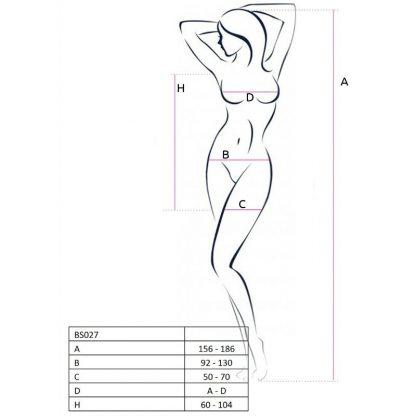 Passion Woman Bs027 Bodystocking Estilo Vestido Blanco Talla Unica