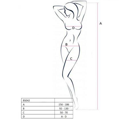 Passion Woman Bs042 Bodystocking Negro Talla Unica
