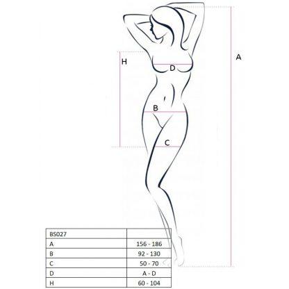 Passion Woman Bs027 Bodystocking Estilo Vestido Negro Talla Unica