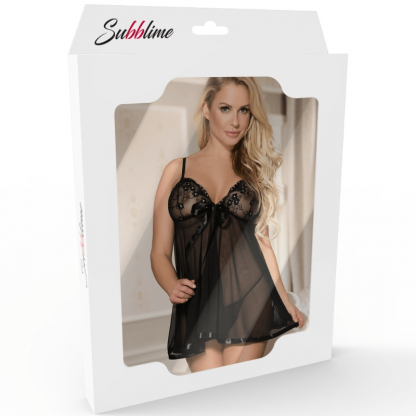 Subblime Babydoll With Bow And Floral Laces Rojo