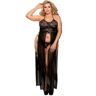 SUBBLIME QUEEN PLUS SET TOP-VESTIDO Y TANGA NEGRO