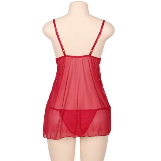 SUBBLIME QUEEN PLUS BABYDOLL WITH BOW AND FLORAL LACES ROJO