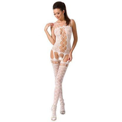 Passion Woman Bs054 Bodystocking Blanco Talla Unica