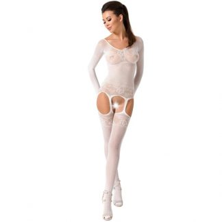 Passion Woman Bs055 Bodystocking Blanco Talla Unica