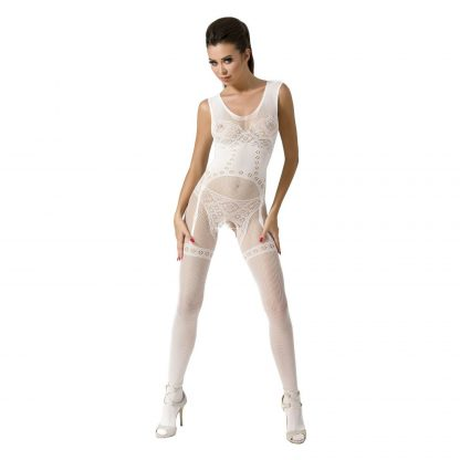 PASSION WOMAN BS052 BODYSTOCKING BLANCO TALLA UNICA