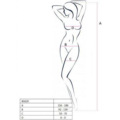 Passion Woman Bs029 Bodystocking Blanco Talla Unica