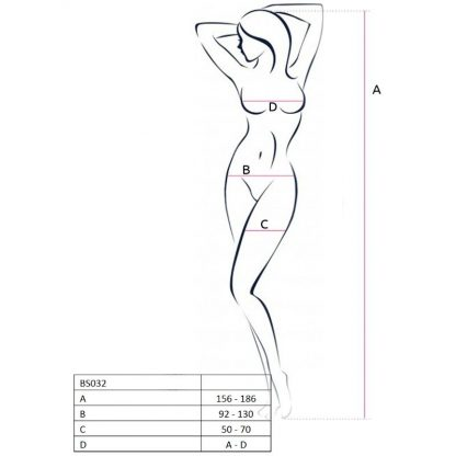 Passion Woman Bs032 Bodystocking Blanco Talla Unica
