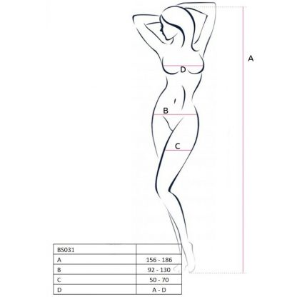 PASSION WOMAN BS031 BODYSTOCKING BLANCO TALLA UNICA