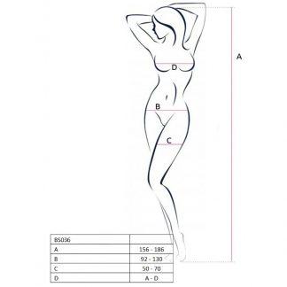 Passion Woman Bs036 Bodystocking Blanco Talla Unica