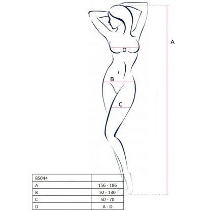 Passion Woman Bs044 Bodystocking Blanco Talla Unica