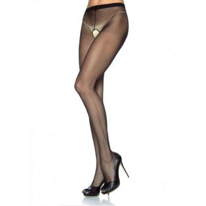 Leg Avenue Panties De Nylon Con Abertura En La Entrepierna Negro Talla Unica