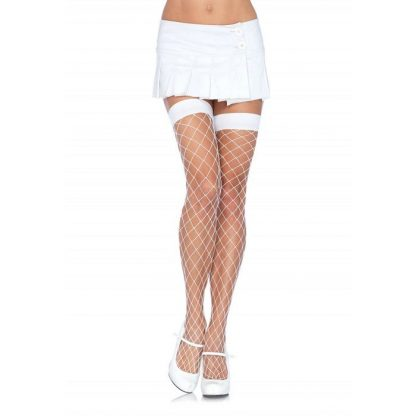 Leg Avenue Medias De Red Mediana Blanco Talla Unica
