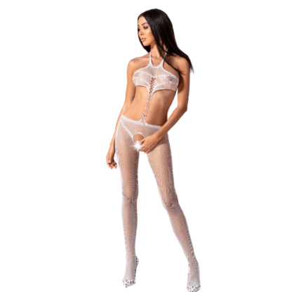 Passion Woman Bs080 Bodystocking Blanco Talla Unica